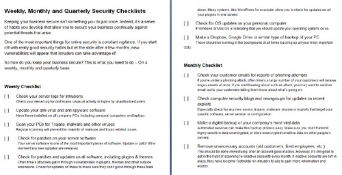 Online Business Security Checklist